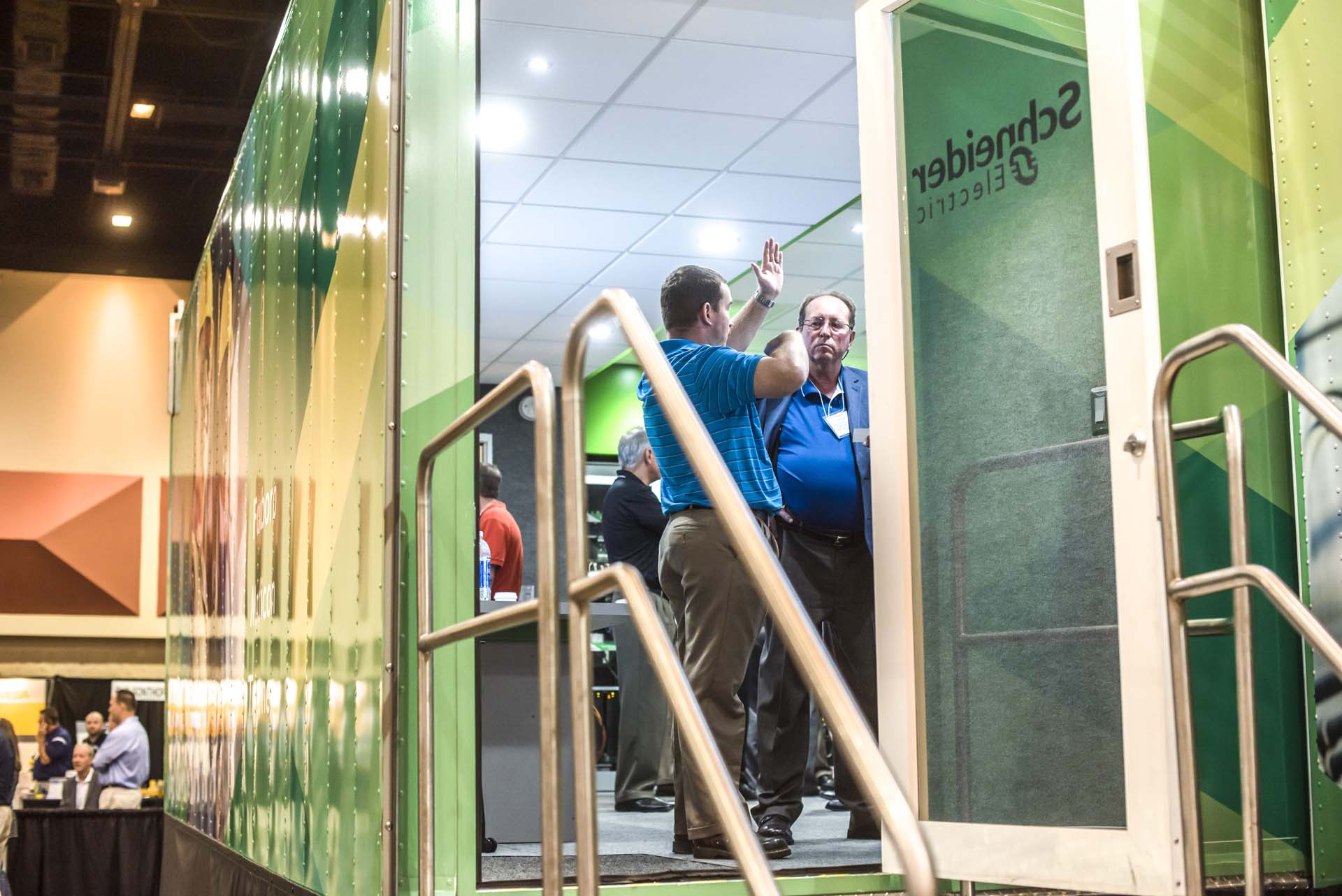 Pulling a well-appointed trailer onto the exhibit floor helped Schneider Electric create a world-within-a-world to showcase its wares.